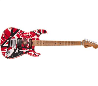 EVH Striped Series Frankie Red with Black Stripes Relic1