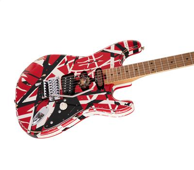 EVH Striped Series Frankie Red with Black Stripes Relic3