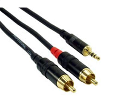Rock Cable Insertkabel 2m StereoMini Jack auf 2Cinch