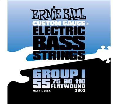 Ernie Ball - 2802 - Stainless Steel - Flatwound - Power Slinky - .055-.110
