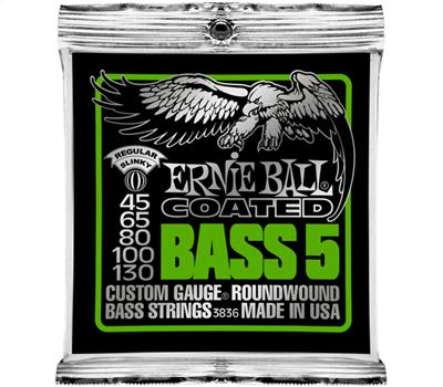 Ernie Ball - 3836 - Coated Nickel Wound - 5-String Regular Slinky - .045-.130